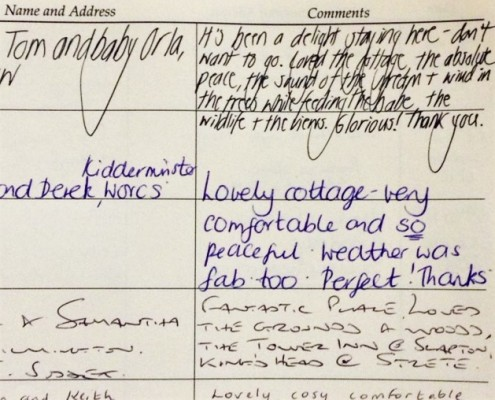 Guest book at Dittiscombe