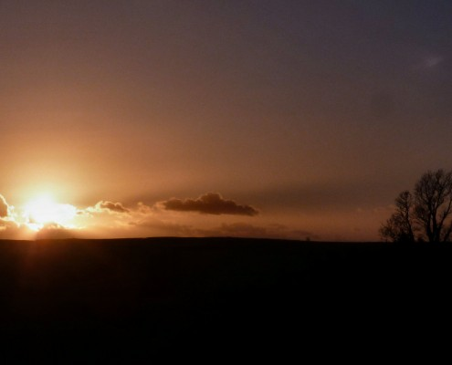 sunset at Dittiscombe, South Devon