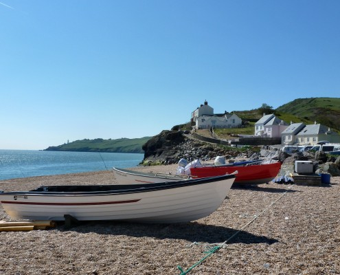 Boats at Hallsands beach