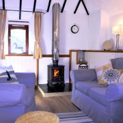 Logburner in Dovecote cottage, Dittiscombe