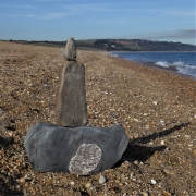 Stone balance art on Slapton Sands, South Devon