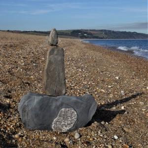 Stone balance art on Slapton Sands, South Devon