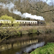 South Devon Steam train by the Dart near Totnes