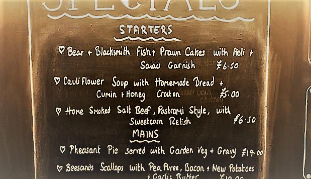 Bear & Blacksmith menu