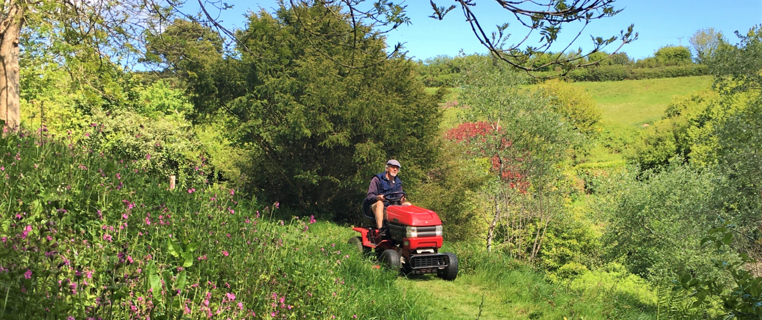 Cutting the nature trail at Dittiscombe Estate